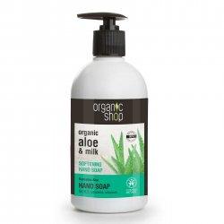 Organic Shop, naturalne zmiękczające mydło do rąk Aloes, 500ml