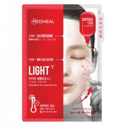 Mediheal Capsule100 Bio SeconDerm Light γ, maska 2-etapowa z glutationem, 10x 23ml+4ml