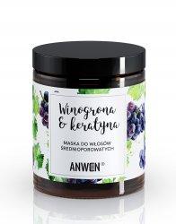Anwen, maska do włosów o średniej porowatości, Winogrona i keratyna, 180ml