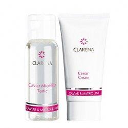 Clarena Caviar&Matrix Line, mini zestaw: tonik micelarny 30ml + krem kawiorowy 15ml