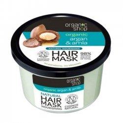 Organic Shop, naturalna odżywcza maska do włosów Argan&Amla, 250ml