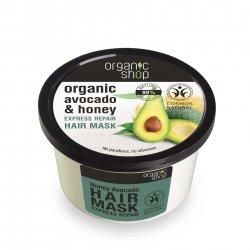 Organic Shop, naturalna ekspresowo regenerująca maska do włosów Miód&Avocado, 250ml