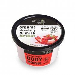 Organic Shop, naturalny zmiękczający mus do ciała Jogurt truskawkowy, 250ml