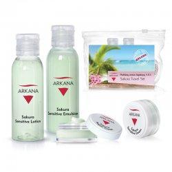 Arkana Sakura Sensitive, podr�ny zestaw mini kosmetyk�w �agodz�cych, kosmetyczka gratis