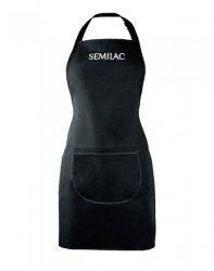 Semilac, czarny fartuszek z białym logo