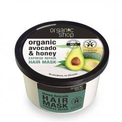 Organic Shop, naturalna odbudowująca maska do włosów Avocado&Miód, 250ml