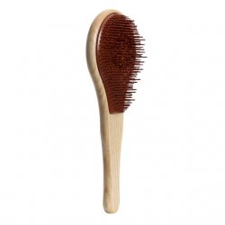 Michel Mercier Wood, drewniana szczotka do włosów normalnych, brązowa