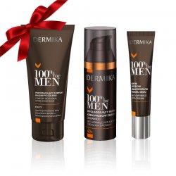 Prezent: Dermika 100% For Men - krem pod oczy + balsam po goleniu + krem do twarzy