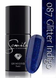Semilac lakier hybrydowy 087 Glitter Indigo, 7ml