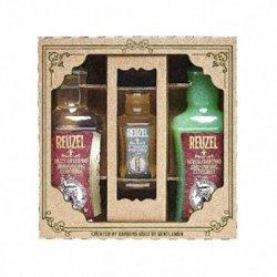 Reuzel, zestaw Wash & Splash, Daily Shampoo 350ml + Scrub Shampoo 350ml + Aftershave 100ml