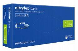 Mercator Nitrylex Basic, rękawiczki nitrylowe, niebieskie, rozmiar S, 100szt