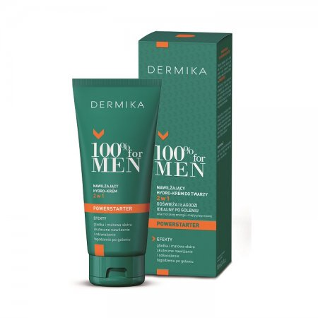 Dermika 100% For Men, nawilżający hydro-krem do twarzy 2w1, 100ml