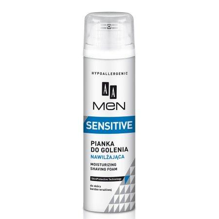 AA Men Sensitive, pianka do golenia nawilżająca do skóry bardzo wrażliwej 250ml