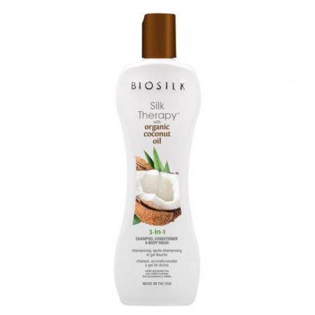 Biosilk Organic Coconut Oil, 3w1: szampon, odżywka i płyn do mycia ciała, 167ml