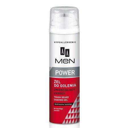 AA Men Power, żel do golenia zmiękczający zarost, 200 ml
