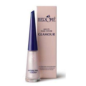 Herome Natural Nail Colour Glamour, naturalny lakier do paznokci, opalizujący, perłowy róż, 10ml